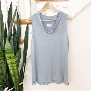 Lou & Grey light blue mock neck blouse size M
